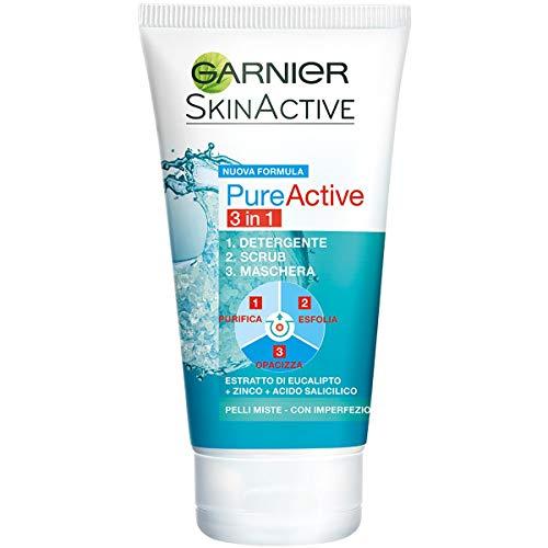 Limpiador activo puro Garnier, 3 en 1 acción, limpiador + exfoliante + máscara para pieles grasa o manchas, 150 ml