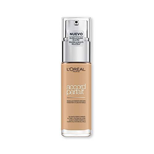 L'Oréal Paris MakeUp Accord Parfait Foundation, efecto natural, enriquecido con ácido hialurónico, 3.D / 3.W Beige Doré / Golden Beige, 30 ml, paquete de 1