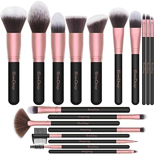 EmaxDesign Pinceles de maquillaje Conjunto de 18 cepillos de maquillaje profesionales Fundación Blush Polvo Cremas líquidas Pinceles para la cara Sombras de ojos (oro rosa)