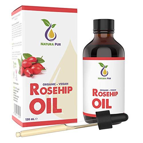 Aceite de rosa mosqueta puro 120 ml - 100% BIO, prensado en frío, vegano - para cara, cuerpo, cabello, piel, manos
