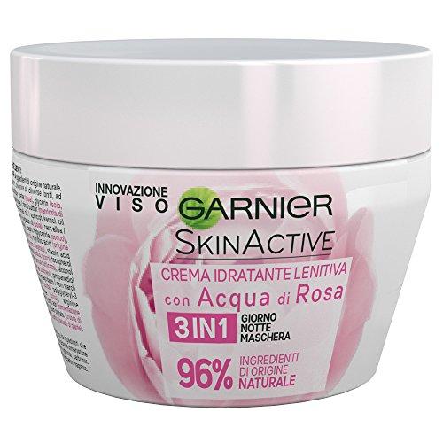 GARNIER SkinActive Crema facial hidratante calmante 3 en 1 día, noche y máscara, enriquecida con agua de rosas, paquete de 1, 150 ml