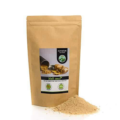 Jengibre en polvo (500 g), jengibre molido, 100% natural, suavemente secado y molido, sin aditivos, vegano, raíz de jengibre