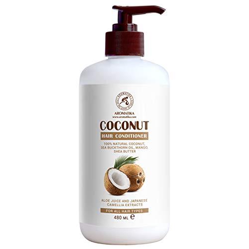 Acondicionador de coco 480 ml para el cabello con aceite de coco 100% natural - para el crecimiento y el volumen - para todos los tipos de cabello - Sin sulfato - Sin parabenos -...
