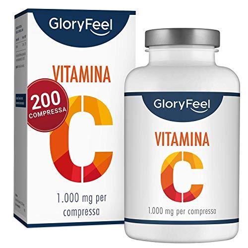GloryFeel® Vitamina C 1000 mg en dosis elevadas - Complemento alimentario - 200 comprimidos veganos - Hasta 7 meses de tratamiento - Probado clínicamente y sin aditivos ...