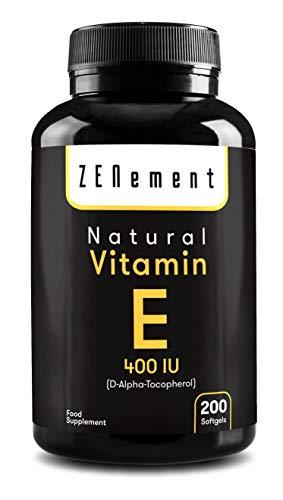 Vitamina E natural - 400 UI (D-alfa-tocoferol), 200 cápsulas de gel suave    Antioxidante que protege las células del estrés oxidativo No transgénico    por Zenement