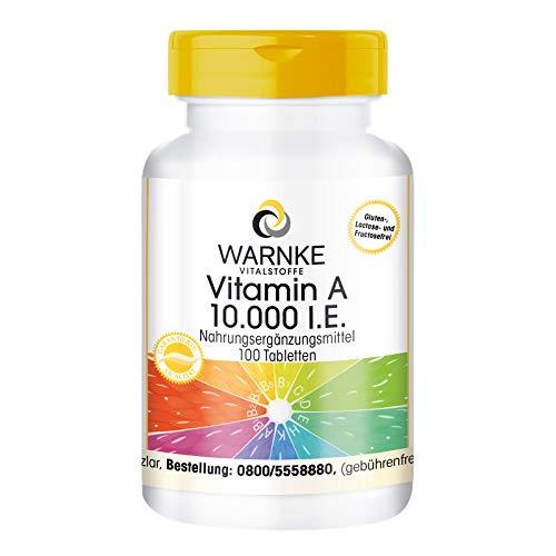 Vitamina A pura 10.000 UI - 100 comprimidos - Importante para la piel, las mucosas, los tejidos y los intestinos