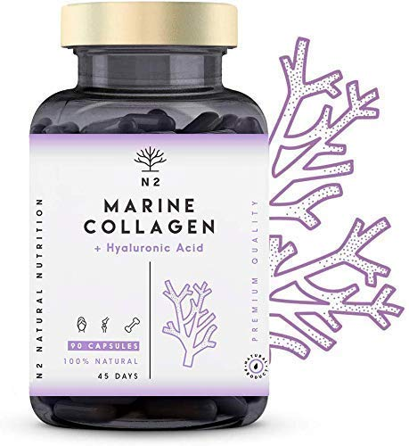 Colágeno con ácido hialurónico.  Pepto.  Colágeno marino hidrolizado con vitamina C. de magnesio para pieles, articulaciones y huesos.  Alta concentración.  90 cápsulas ...