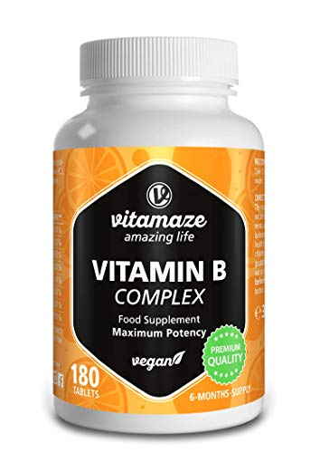 Vitamaze® Vitamina B Complejo Alta dosificación, 180 comprimidos veganos 6 meses de ingesta, B1, B2, B3, B5, B6, B7, B9, B12 puro, calidad alemana, suplemento alimentario ...