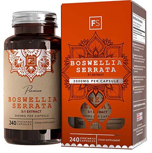 Cápsulas FS Boswellia Serrata 2000mg |  240 cápsulas veganas: suministro durante 8 meses de extracto de incienso de alta resistencia |  Suplemento conjunto |  No transgénico, ...