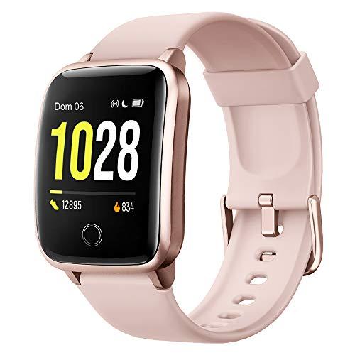 Reloj inteligente para mujer, hombre, reloj de fitness para podómetro iOS y monitor de frecuencia cardíaca, reloj de pulsera IP68 impermeable, mensajes de notificaciones, cronómetro, ...