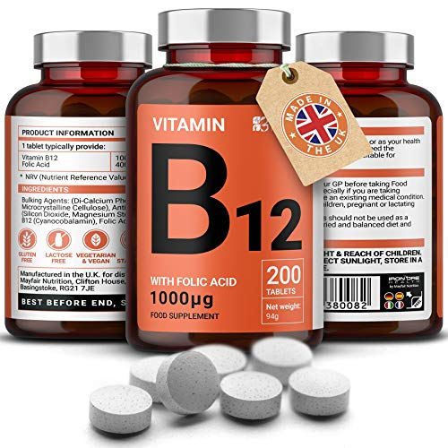 Vitamina B12 con ácido fólico |  200 tabletas premium de 1000 mg |  Suplemento para vegetarianos y veganos |  Sin gluten y sin OMG |  Suministro de 6 meses |  Producido en la ...