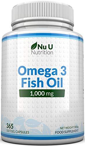 Aceite de pescado Omega 3 1000 mg - 365 cápsulas de cápsula suave (suministro durante 1 año) - Suplementos alimenticios Nu U Nutrition