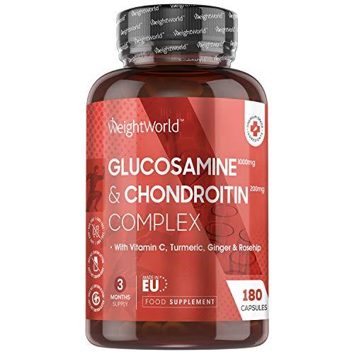 Glucosamina Condroitina Forte + Vitamina C - 180 cápsulas (suministro de 3 meses) - Suplemento conjunto con sulfato de glucosamina, sulfato de condroitina - Condroitina ...