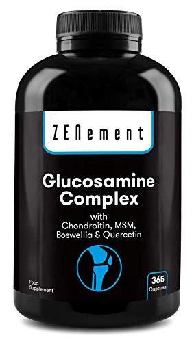 Complejo de glucosamina con condroitina, MSM, Boswellia y Quercetina, 365 cápsulas |  Sin transgénicos, sin aditivos, sin gluten, GMP |  por Zenement