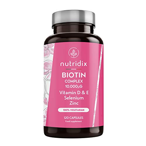 Complejo de biotina 10.000 - Mantenimiento de pelo y uñas normales - Biotina con zinc, selenio, vitaminas D y E - 120 cápsulas Nutridix