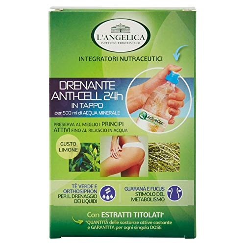El Angelica, suplemento de drenaje anticelulítico las 24 horas con té verde y guaraná, contrastes de retención de agua y manchas de celulitis, 8 tapones para ...