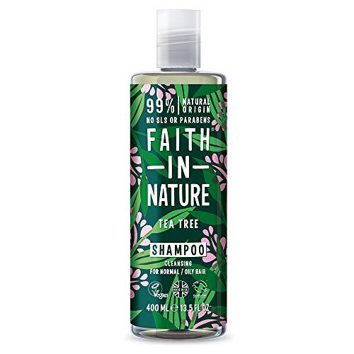 Champú para árbol de té natural Faith in Nature, sin veganos, sin parabenos y sin SLS, no probado para animales, para cabello normal a grasos, 400 ml