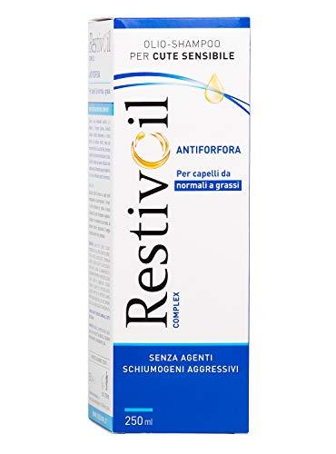 Champú anti-caspa complejo RestivOil para cabellos, aceite fisiológico con acción antiseborreica y anti-picazón, para cabello normal a grasos, 250 ml