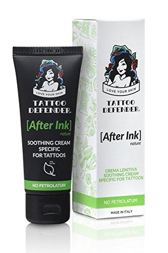 Tattoo Defender After Ink Nature - Crema hidratante calmante para el cuidado y curación de nuevos tatuajes, sin petróleo, probada dermatológicamente, sin ...