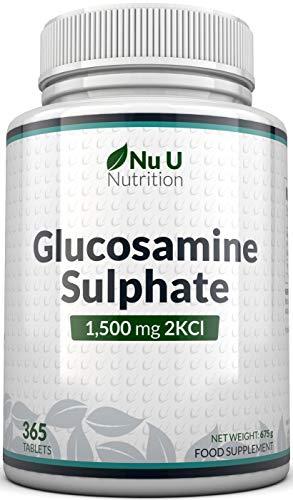 Sulfato de glucosamina 1500 mg 2KCl, 365 comprimidos (suministro durante 1 año) |  Alta dosificación |  Hecho en el Reino Unido por Nu U Nutrition