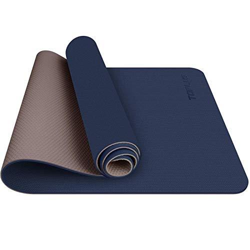 Estera de yoga TOPLUS, estera de yoga acolchada antideslizante Fitness Pilates y gimnasia con correa TPE, 180 x 60 cm (azul marino)