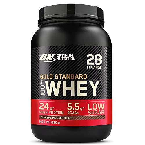 Optimum Nutrition Gold Standard 100% Proteína de suero en polvo con proteínas aisladas y aminoácidos para la masa muscular, chocolate con leche, 28 porciones, 896 g, ...