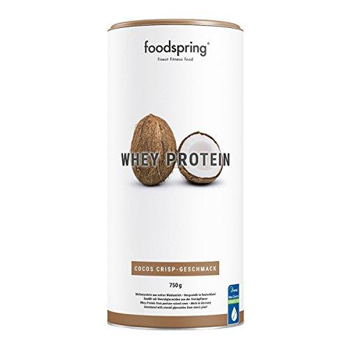 Foodpring Proteína de suero, coco crujiente, 750 g, fórmula en polvo de alta proteína para músculos más fuertes, hecha con leche de vaca de alta calidad ...