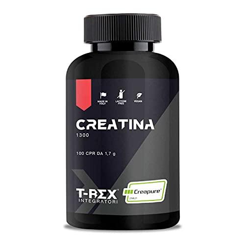 Suplementos T-Rex, Creatine 1300 monohidrato micronizado Creapure®.  100 comprimidos de 1300 mg de creatina pura - Fabricado en España