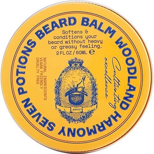 Bálsamo de barba de siete pociones - Aceite de barba para aliviar la piel de la cara - Picor cero - Natural, orgánico y libre de crueldad - Woodland Harmony (60ml)