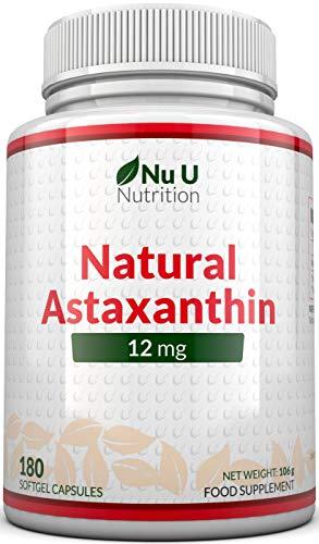 Astaxantina 12 mg - 180 cápsulas de cápsulas suaves (suministro de 6 meses) - Dosis más alta de astaxantina - Suplementos alimenticios Nu U Nutrition