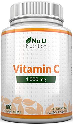 Vitamina C 1000 mg |  180 comprimidos (suministro de 6 meses) |  Complementos alimenticios de Nu U Nutrition