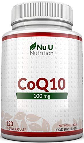 CoQ10 de 100 mg |  120 cápsulas de coenzima Q10 |  Complementos alimenticios de Nu U Nutrition