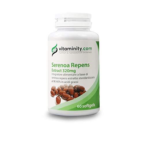 Vitaminity Serenoa Repens 320 mg - 90-95% - Suplemento de pérdida de cabello y próstata Saw Palametto - 60 cápsulas suaves