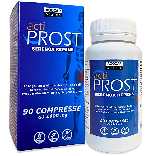 Actiprost, suplemento de próstata, 90 comprimidos |  400 mg Serenoa Repens (saw palmetto) con semillas de calabaza, Pygeum Africanum, Epilobium, ortiga, licopeno |  2 cpr a ...
