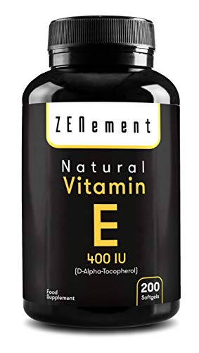 Vitamina E natural - 400 UI (D-alfa-tocoferol), 200 cápsulas de gel suave |  Antioxidante que protege las células del estrés oxidativo No transgénico |  por Zenement