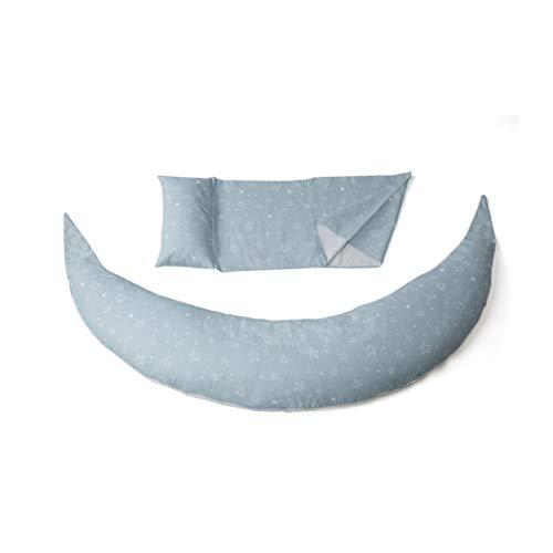 Cojín Nuvita 7100 DreamWizard para el embarazo y la lactancia materna - 12 en 1 con soporte ajustable - Microsferes - hipoalérgico y transpirable - Fabricado en España (gris ...