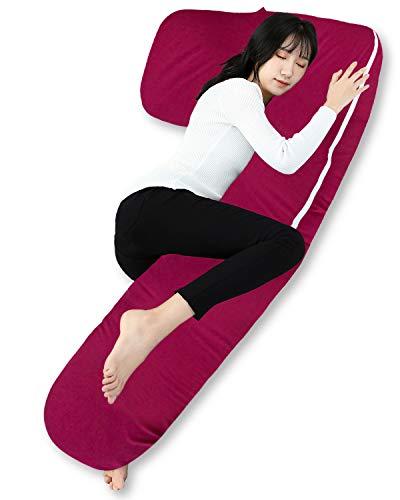 Cojín corporal QUEEN ROSE, almohada de embarazo, cojín en forma de L, ideal para el embarazo y el sueño con funda extraíble y lavable (165 x 80cm, Jersey, ...