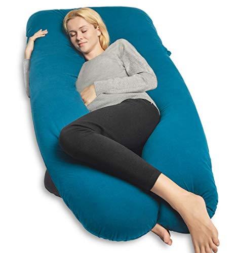 Cojín de embarazo QUEEN ROSE, cojín de enfermería en forma de U para mujeres embarazadas, con forro de Jersey con almohada corporal (azul)