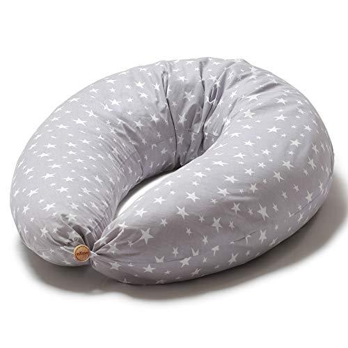 Cojín de embarazo Niimi para dormir y amamantar lactante XXL Reductor multifuncional extraíble de cunas Funda de almohada 100% algodón (estrellas blancas grises)
