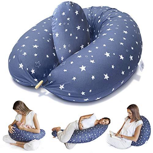 Cojín de lactancia Bamibi ® + Cojín interior Almohada multifuncional y de embarazo para dormir lateral, funda de almohada 100% algodón (estrellas)