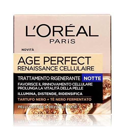 L'Oréal Paris Age Perfect Reinassance cellulaire Crema facial nocturna, Tratamiento nocturno restaurador, Piel madura, 50 ml, 1 paquete