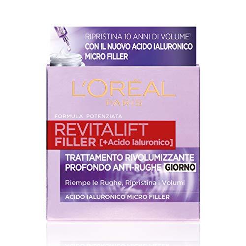 Crema facial de día L'Oréal Paris Revitalift Filler, acción revolumitzant antiarrugas con ácido hialurónico concentrado, 50 ml