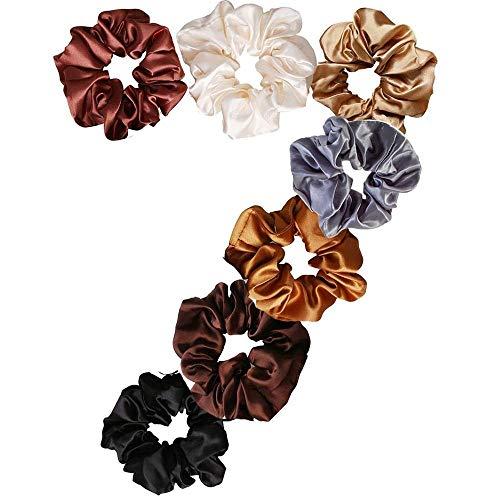 Uni-Fine 7pcs Bandas para el cabello Scrunchies para el cabello Scrunchies para el rayado Algodón Puerta colas de caballo Corbatas Accesorios para el cabello para mujeres solteras