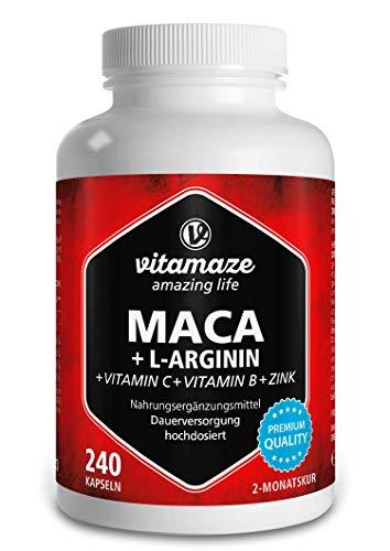 Vitamaze® Maca Cápsulas de alta dosis 4000 mg en polvo + L-Arginina + Vitaminas + Zinc, 240 cápsulas durante 2 meses, calidad alemana, raíz de Maca peruana de los Andes, ...
