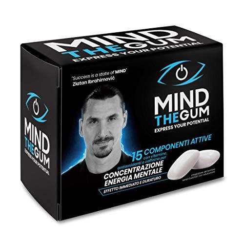 MIND THE GUM, suplemento con cafeína y vitaminas para la concentración y la energía mental - Paquete de 12 días con 36 chicles - Sabor a menta