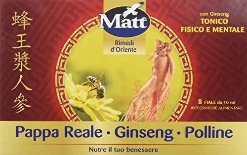 Matt - Ginseng de polen de jalea real - Complemento alimentario contra la fatiga con beneficios de jalea real, polen y ginseng - 8 botellas - 80 ml