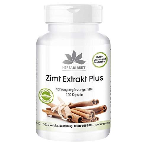 Extracto de canela - 120 cápsulas - 10 veces más concentrado con cromo y zinc - Antiséptico y desinfectante natural