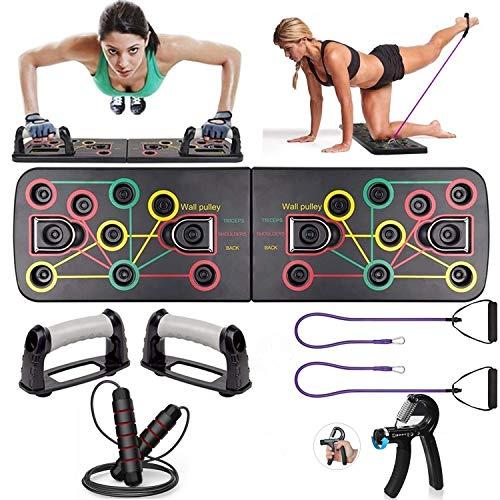Kit de herramientas para el gimnasio casero, 1 mango empuje hacia arriba de tablero de barra, 2 cintas de resistencia en el gimnasio, 1 cuerda para saltar, 1 mango reforzador de la mano ...