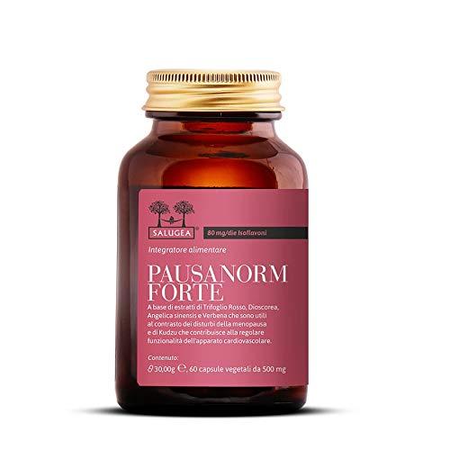 Salugea Pausanorm Forte 100% Natural - Suplemento para la menopausia sin soja, con trébol rojo, kudzu, Dioscorea, verbena - Botella de vidrio rosa 30 gr