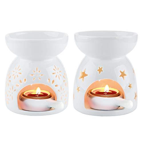 Quemador de aceites esenciales de cerámica ComSaf para aromaterapia Luz de aroma Puerta farola por difusor Paquete blanco de 2